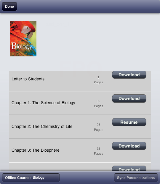 Tap Download Next To The Chapter You Wish Use Offline And Content Will Your IPad Can Select Course Want As Active