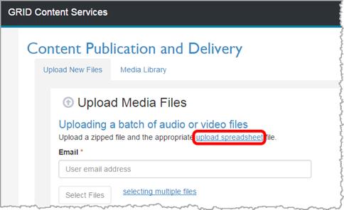 Upload multiple files using ZIP and Ingestion Spreadsheet
