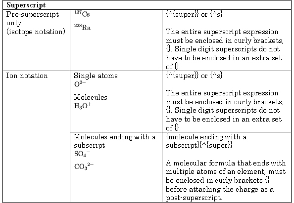 Basic codes (ChemTeX) in answer strings